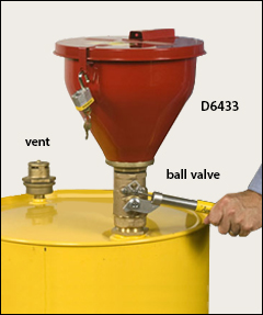Steel funnel, self-closing cover, tip-over protection - Drum deheaders, funnels